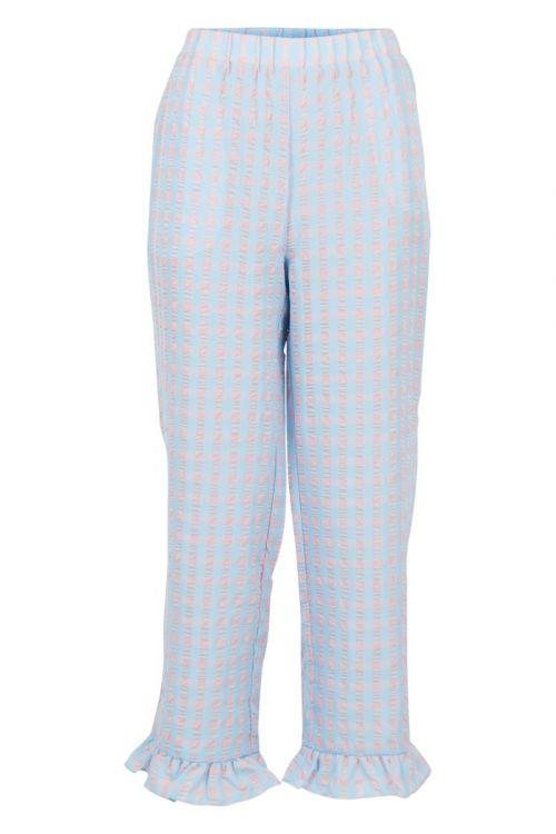 Neo Noir Bukser Ina Candy Check Pants Light Blue Front