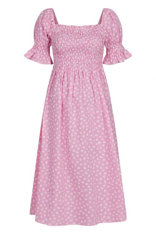 Neo Noir - Kjole - Victoria Check Flower Dress - Pink