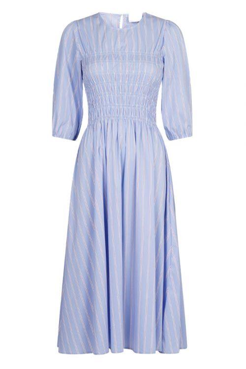 Neo Noir Kjole Aries Stripe Dress Light Blue Front