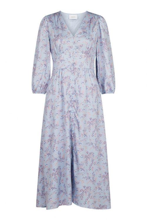 Neo Noir Kjole Olana Mystic Flower Dress Light Blue Front