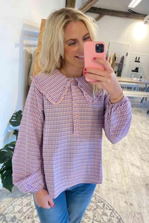 Noella - Bluse - Dawn Blouse - Lavender/rose Checks