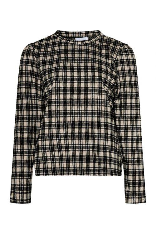 Noella Bluse Flow Sweatshirt Camel Check Front