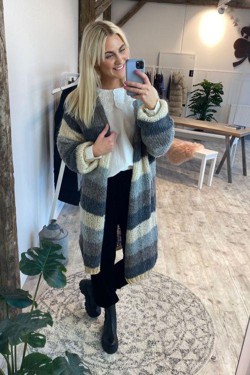 Noella Cardigan Kala Cardigan Long Grey Brown Stripes Hover