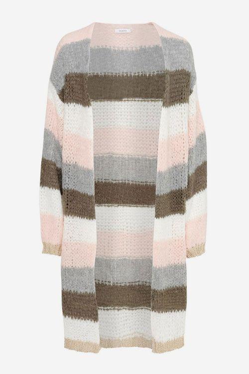 Noella Cardigan Kala Cardigan Long Olive Green/Rose Stripes Front