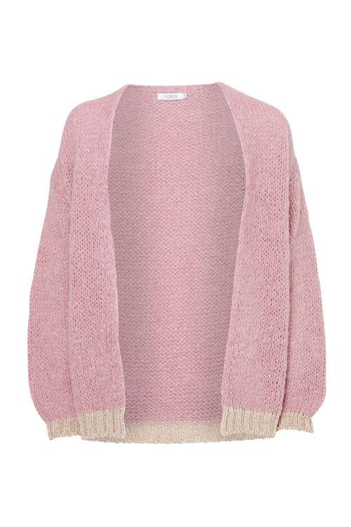 Noella Cardigan Kala Knit Cardigan Lurex/Old Rose Front