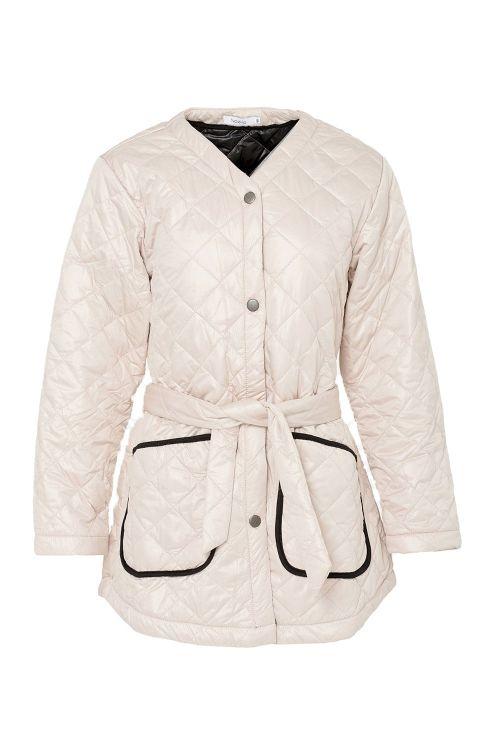 Noella Jakke Sava Quilt Jacket Sand/Black Piping Front