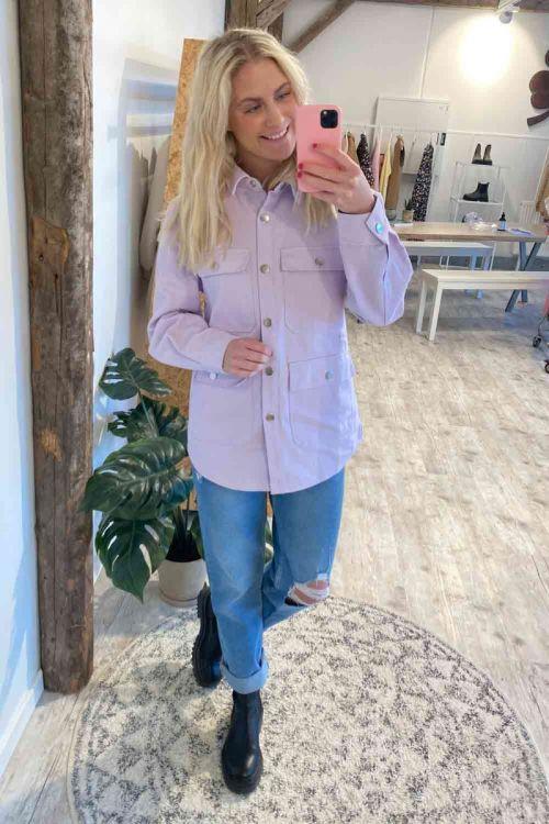 Noella Jakke Demi Shirt Jacket Denim Lavender Hover