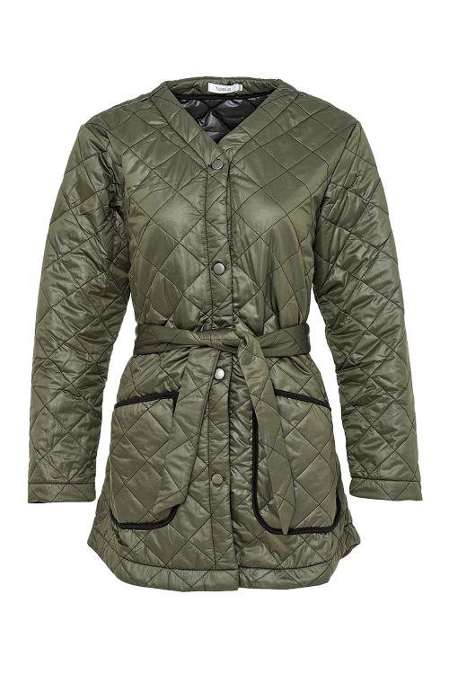 Noella Jakke Sava Quilt Jacket Army/Black Piping Front