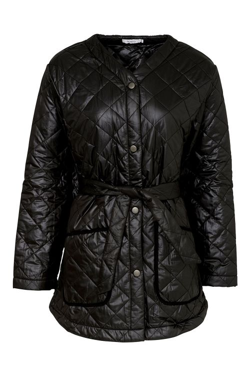 Noella Jakke Sava Quilt Jacket Black/Black Piping Front