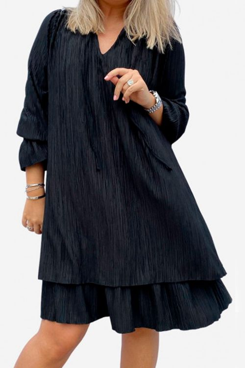 Noella Kjole Cassey Pleat Dress Black Front