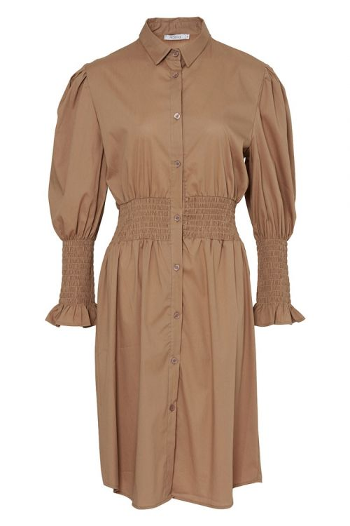 Noella Kjole Danielle Dress Cotton Poplin Camel Front