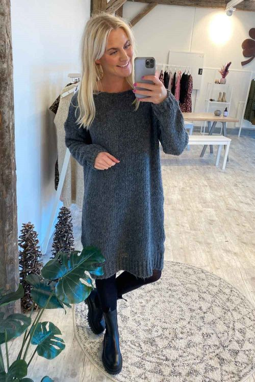 Noella Kjole Kala Knit Dress Dark Grey Melange Hover