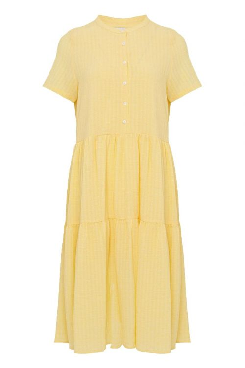 Noella Kjole Lipe Short Sleeve Dress Yellow Check Front