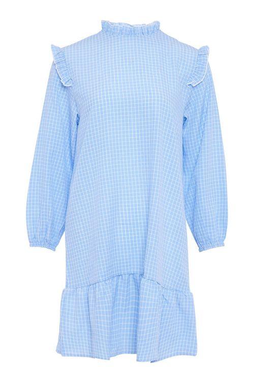 Noella Kjole River Dress Blue/White Checks Front