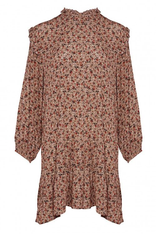 Noella Kjole River Dress Terracotta Flower Front