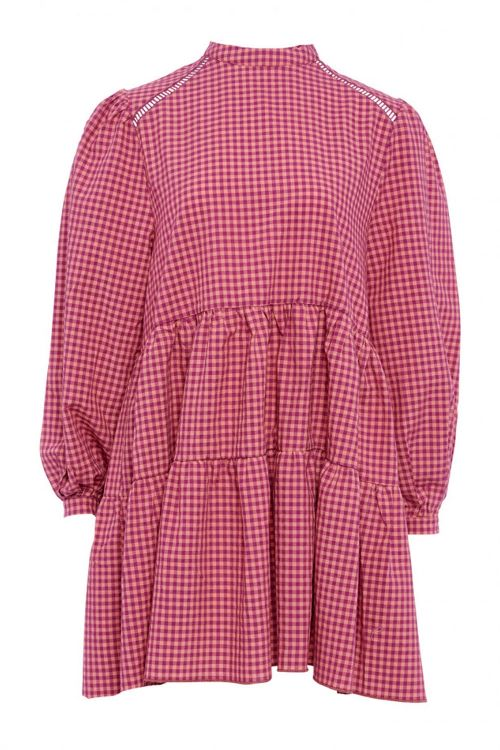 Noella Kjole Tif Dress Pink Checks Front