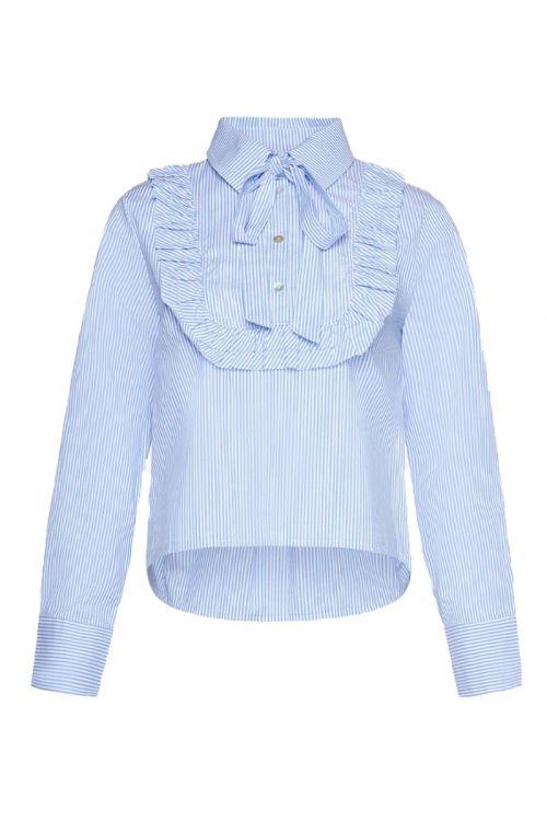 Noella - Skjorte - Celeste Ruffle Shirt Cotton Poplin - Blue/White Stripe