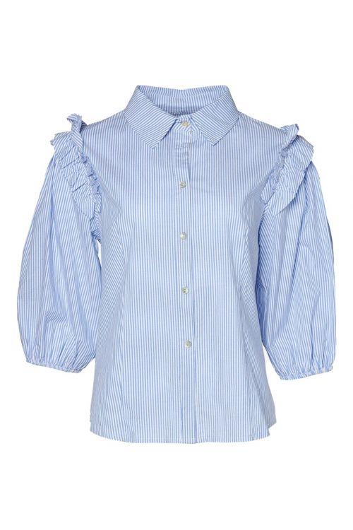 Noella - Skjorte - Celeste Shirt Cotton Poplin - Blue/White Stripe