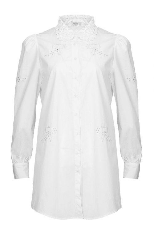 Noella - Skjorte - Lucille Long Shirt Cotton - White Lace