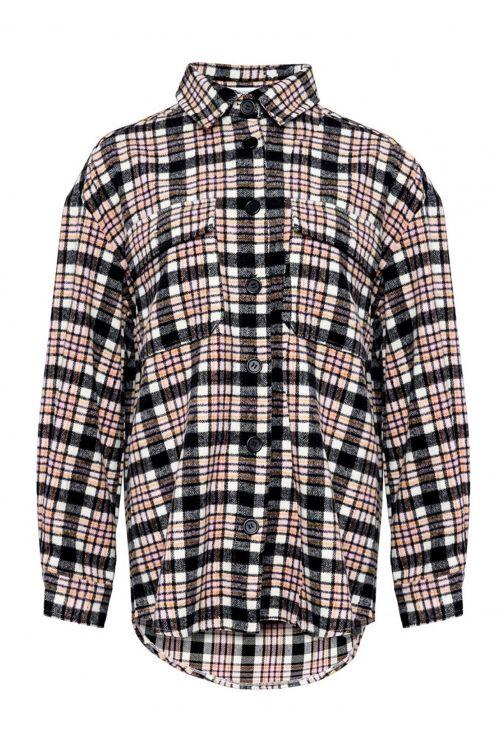Noella Skjorte Vigga Shirt Jacket Rose/Orange Checks Front