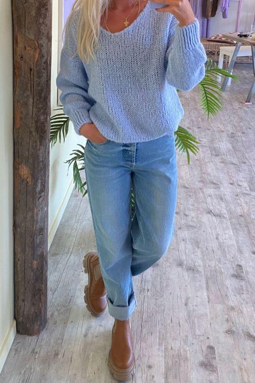 Noella - Strik - Fora Knit V-neck Sweater - Light Blue