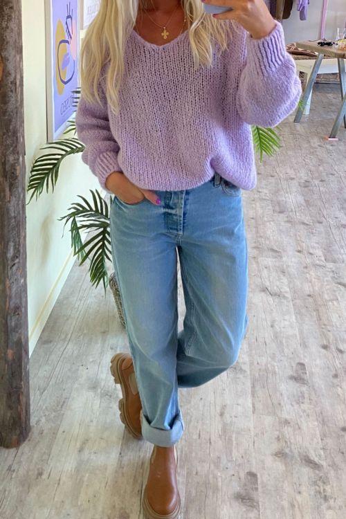 Noella - Strik - Fora Knit V-neck Sweater - Pale Lavender