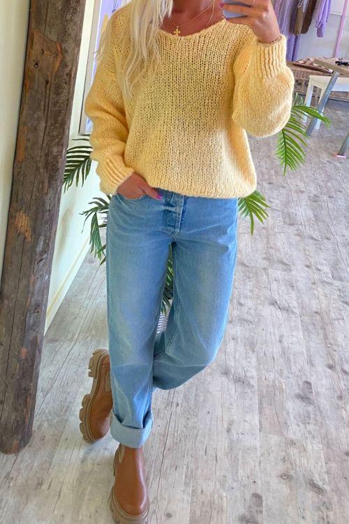 Noella - Strik - Fora Knit V-neck Sweater - Yellow Melange