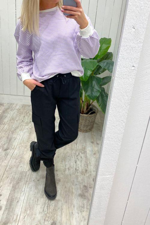Noella Sweat Tatum Sweatshirt Purple/White Stripes Hover