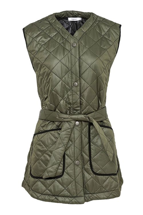 Noella Vest Sava Quilt Waistcoat Army W. Black Piping Front1