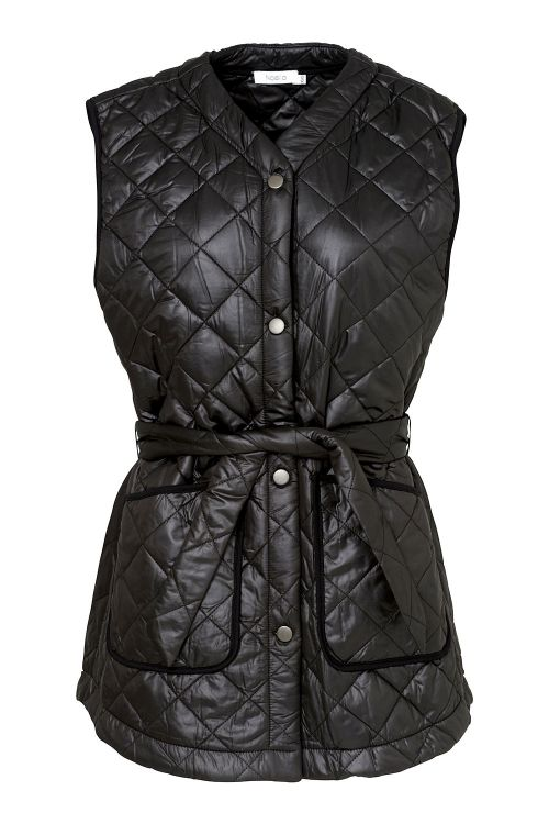 Noella Vest Sava Quilt Waistcoat Black/Black Piping Front