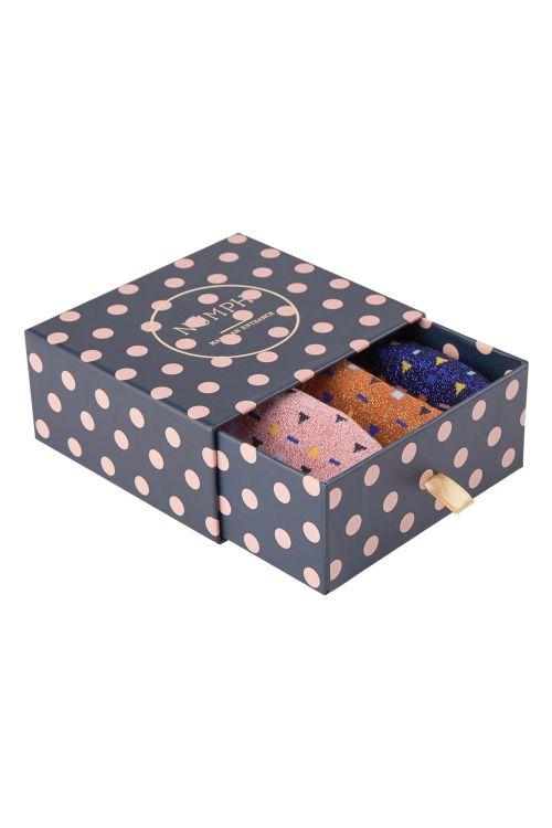 Nümph Strømper Kingcity 3-Pack Glitter Sock Blue/Gold/Rose Multi Front