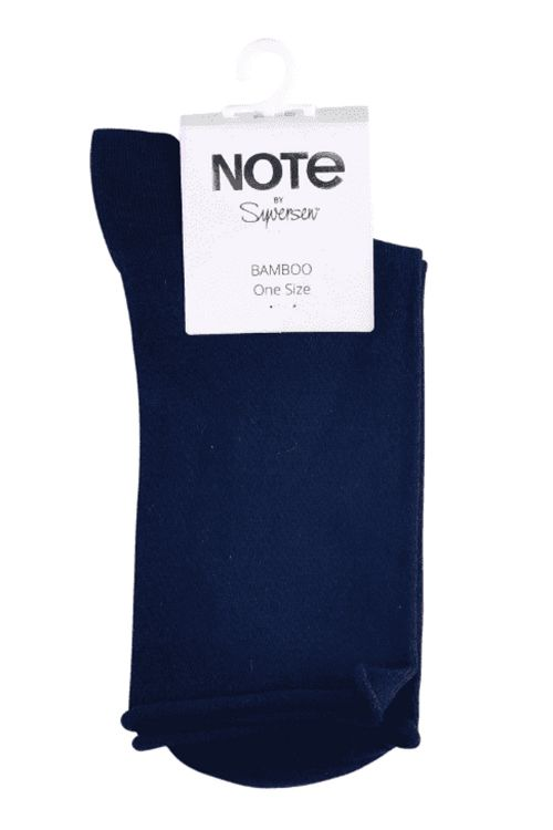 Oroblú Strømper Note Woman Bamboo Roll Top Dark Blue Front