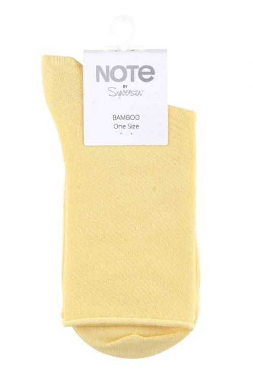 Oroblu Strømper Note Woman Bamboo Roll Top Yellow Front