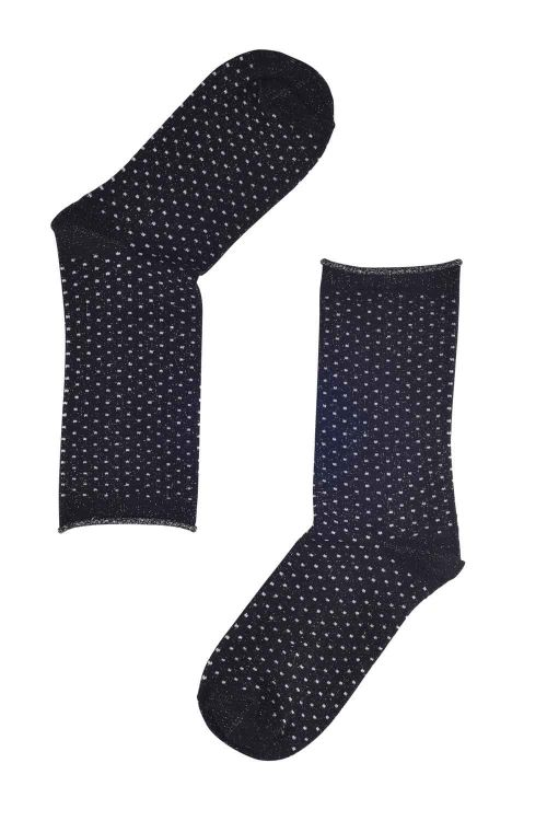 Oroblu Strømper Note Woman Bamboo/Lurex Dots Roll Top Black/White Front