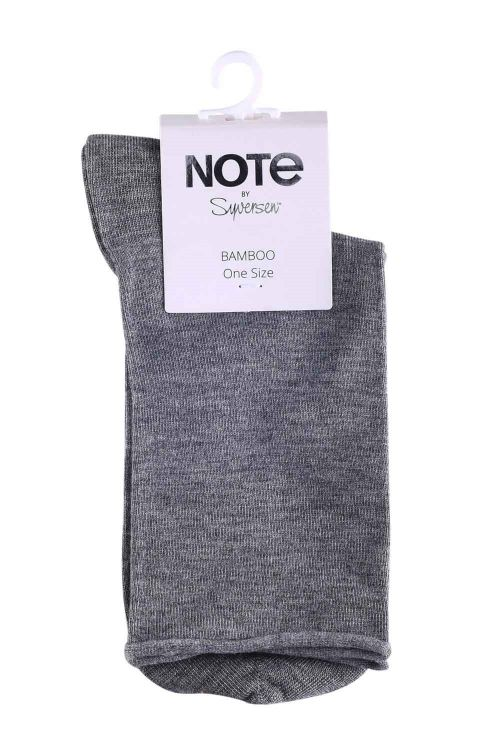 Oroblu Strømper Note Woman Bamboo Roll Top Light Grey Melange Front