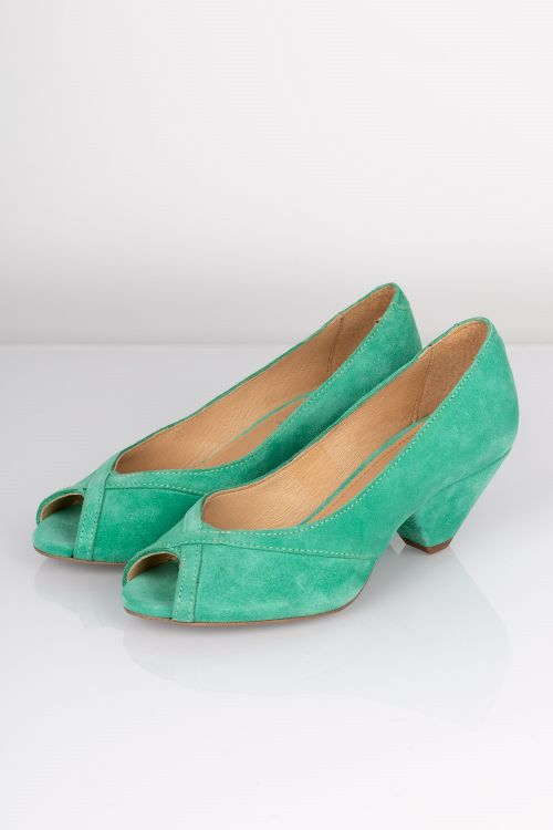 Pavement Sandal Zoey Pastel Green Suede Front