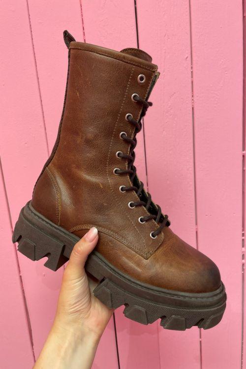 Pavement  Støvler  Antonella Nubuck  Brown leather 538 Front