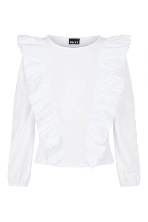 Pieces - Bluse - Binna LS Top - Bright White