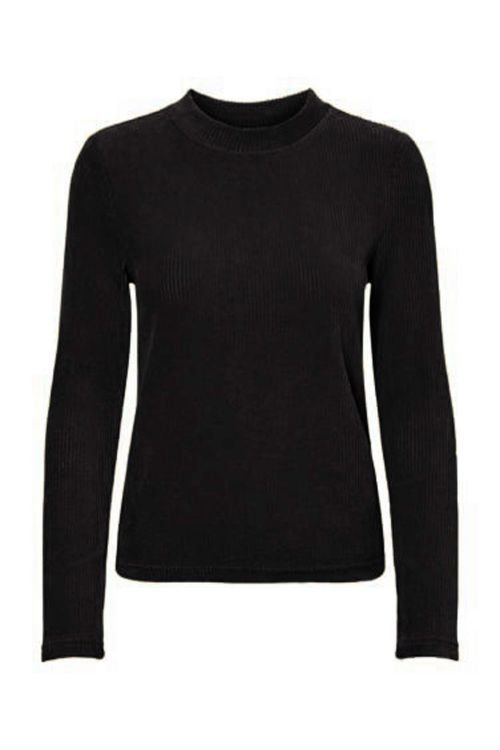 Pieces - Bluse - PC Holly LS O-Neck Top - Black