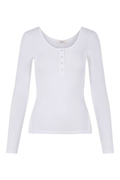 Pieces Bluse Kitte LS Top Bright White Front