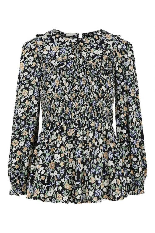 Pieces Bluse Lauri LS Smock  TopBl ack Front