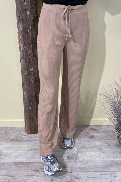 Pieces - Bukser - PC Ribbi HW String Pants - Warm Taupe