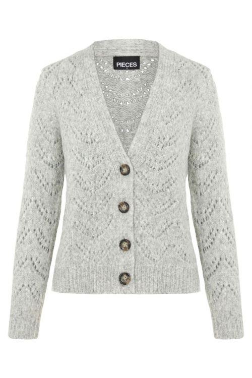 Pieces - Cardigan - PC Bibi LS Knit Cardigan - Light Grey Melange