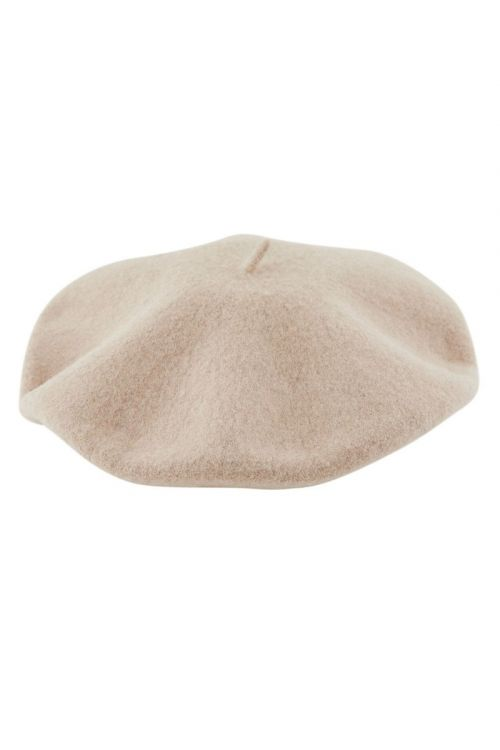 Pieces - Hat - PC French Wool Beret - Silver Mink