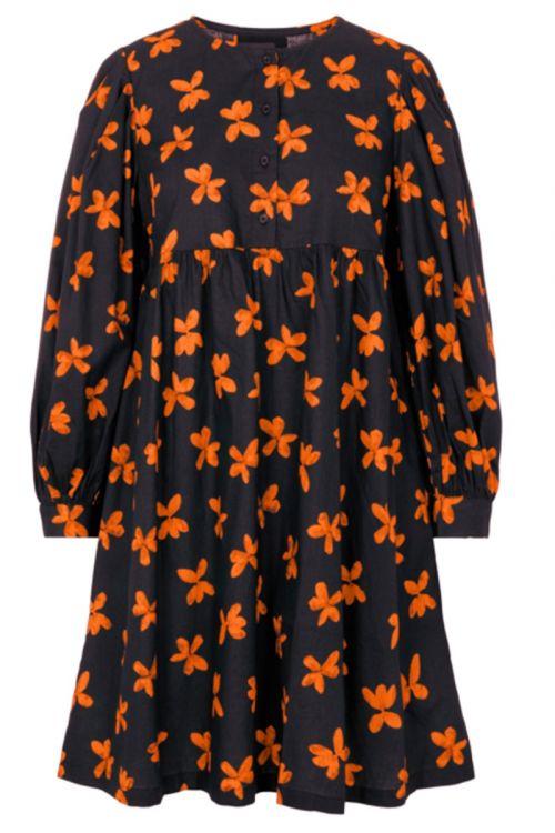 Pieces - Kjole - Alona Dress - Black w/ Orange (Levering i november)
