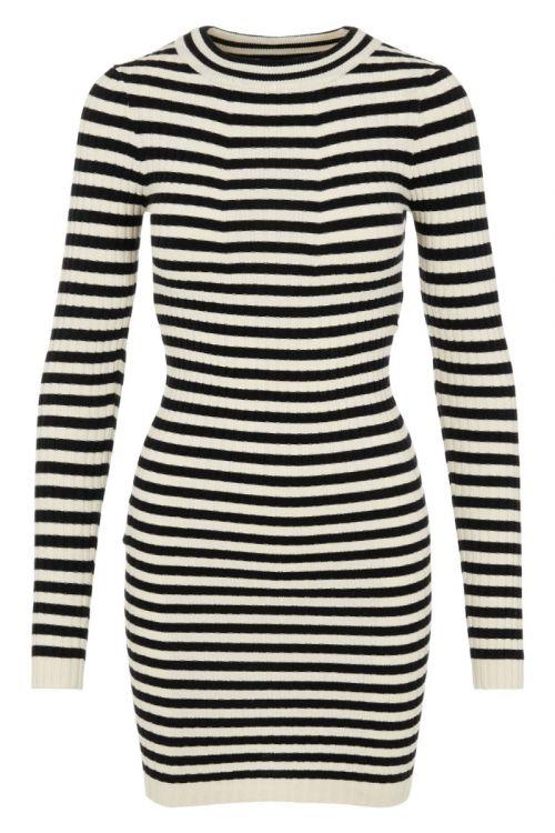 Pieces - Kjole - PC Crista LS O-Neck Dress - Black/With Birch