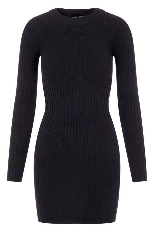 Pieces - Kjole - PC Crista LS O-Neck Knit Dress - Black