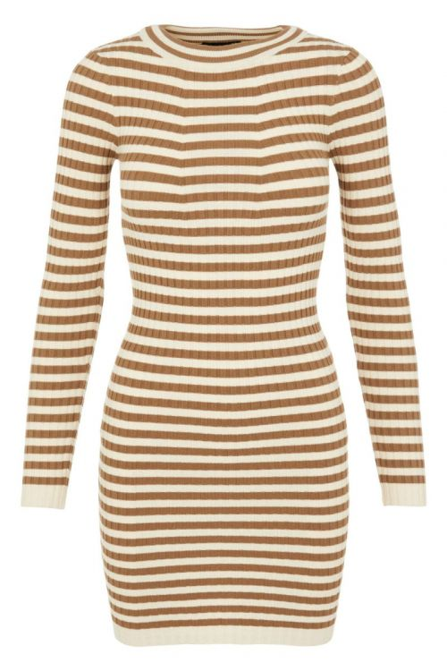 Pieces - Kjole - PC Crista LS O-Neck Knit Dress - Otter/With Birch