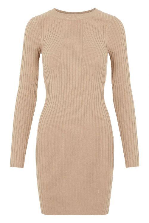 Pieces - Kjole - PC Crista LS O-Neck Knit Dress - Silver Mink