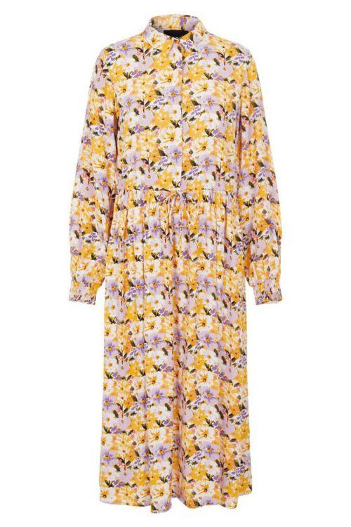 Pieces - Kjole - PC Dansi LS Midi Dress - Banana